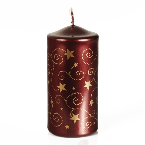 Papstar Stumpenkerze lackiert Ø 60 mm · 130 mm bordeaux Little Stars