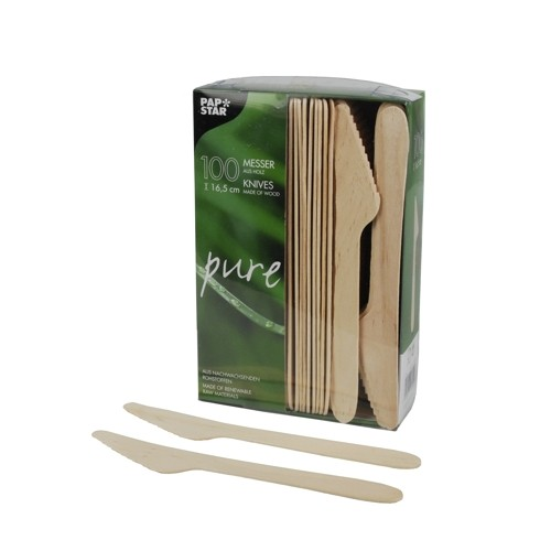"Papstar Messer Holz ""pure"" 16,5 cm"
